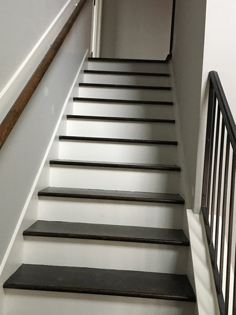 front stairs with wood treads