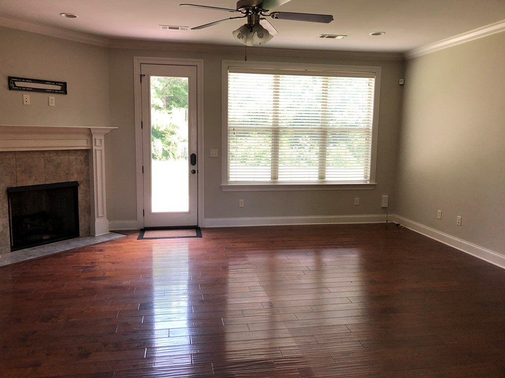 Spacious LR with french door to patio and gas logs